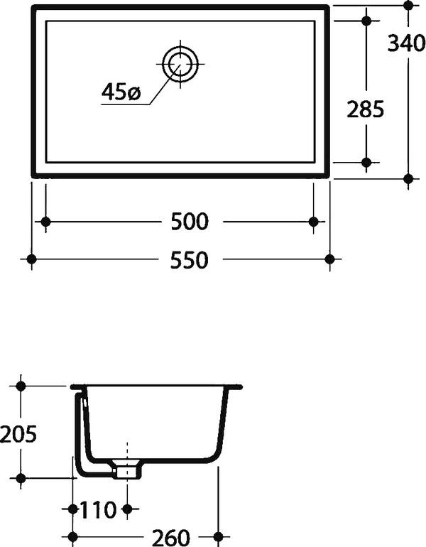 Раковина Kerasan 022901 55 см, встраиваемая