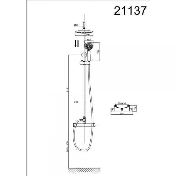 Душевая стойка D&K Potsdam DA2113701B09 с термостатом
