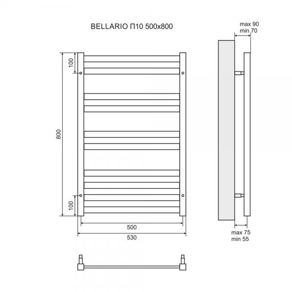 Водяной полотенцесушитель Lemark Bellario П10 LM68810BL 500x800 черный