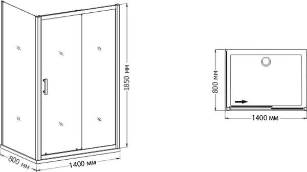 Душевой уголок RGW Passage PA-45 1400x800x1850 профиль хром, стекло прозрачное