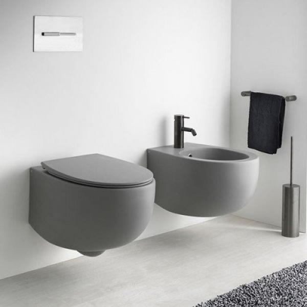 Унитаз подвесной безободковый AeT DOT 2.0 WC серый матовый S555T0R0V6116 с сиденьем микролифт