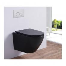 Унитаз подвесной безободковый ESBANO AZALEA (Матовый Черный) с сиденьем Микролифт