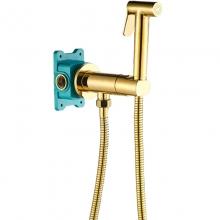 Гигиенический душ со смесителем ALMAes Agata AL-877-08 Золото С ВНУТРЕННЕЙ ЧАСТЬЮ