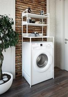 Шкаф-стеллаж с полками Sanflor 82613187 белый муар, над стиральной машиной