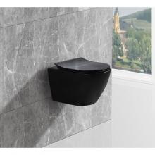 Унитаз подвесной безободковый ESBANO AMAPOLA (Матовый Черный) с сиденьем Микролифт