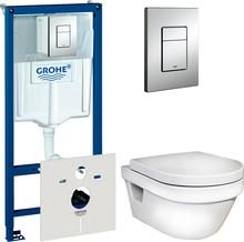 Комплект Инсталляция Grohe Rapid SL 4 в 1 с кнопкой хром + Унитаз Gustavsberg Hygienic Flush безободковый