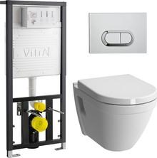 Комплект унитаз подвесной VitrA S50 9003B003-7201 кнопка хром с сиденьем микролифт