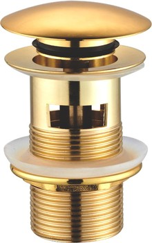 Донный клапан для раковины Creavit SF031G с переливом, золото