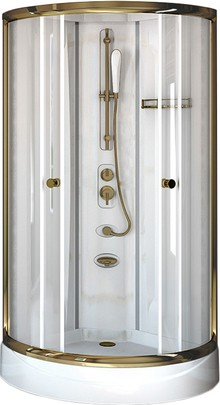 Душевая кабина Radomir Паола 1 Gold без г/м, стекло прозрачное
