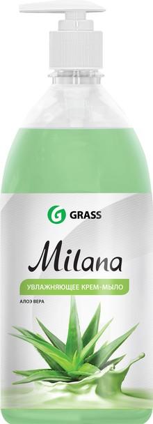 Жидкое мыло Grass Milana крем-мыло с дозатором, алое вера, 1 л