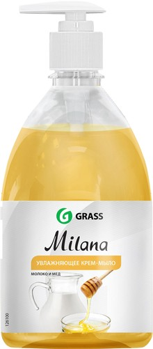 Жидкое мыло Grass Milana крем-мыло с дозатором, молоко и мед, 500 мл