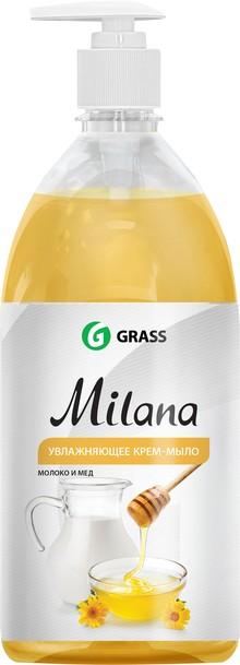 Жидкое мыло Grass Milana крем-мыло с дозатором, молоко и мед, 1 л