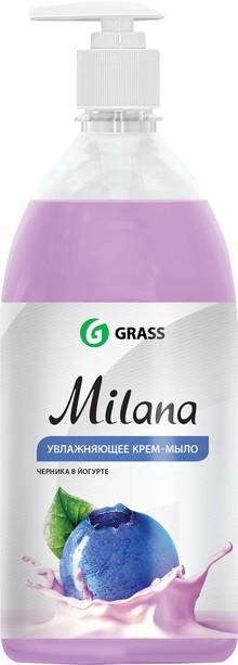 Жидкое мыло Grass Milana крем-мыло с дозатором, черника в йогурте, 1 л