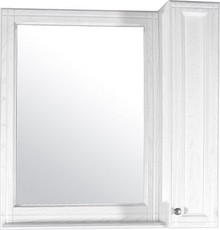Зеркало-шкаф ASB-Woodline Берта 85 белое, патина серебро