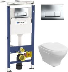 Комплект Инсталляция Geberit Duofix Платтенбау 4 в 1 с кнопкой хром + Унитаз Gustavsberg Estetic Hygienic Flush