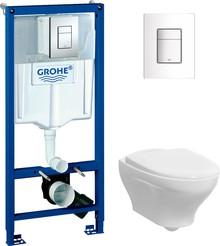 Комплект Инсталляция Grohe Rapid SL 3 в 1 с кнопкой хром + Унитаз Gustavsberg Estetic Hygienic Flush