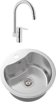 Комплект Мойка кухонная Oulin OL-357 + Смеситель VitrA Fold S Sink Mixer A42155EXP для кухонной мойки