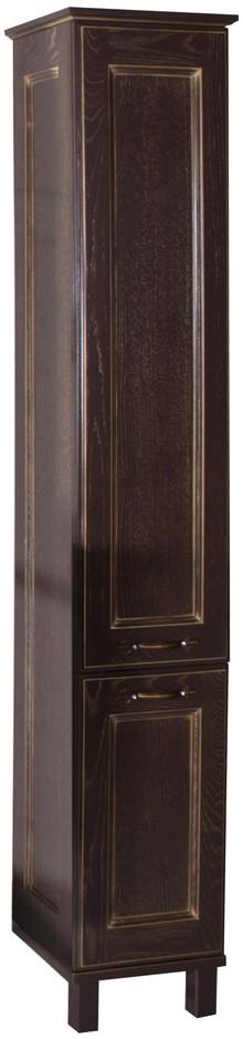 Шкаф-пенал ASB-Woodline Прато орех темный, патина золото