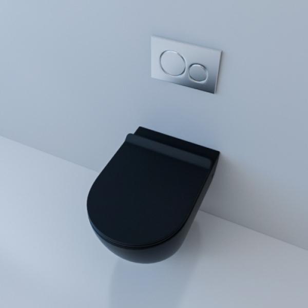 Унитаз подвесной безободковый ESBANO GARCIA (Матовый Черный) с сиденьем Микролифт
