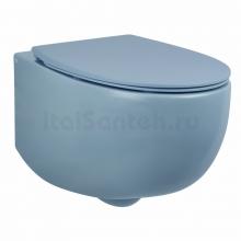 Унитаз подвесной безободковый AeT DOT 2.0 WC пастельно - синий матовый S555T0R0V6141 с сиденьем микролифт