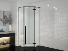Душевой уголок пятиугольный Cerutti Spa C2 100x100x195 черный профиль стекло прозрачное