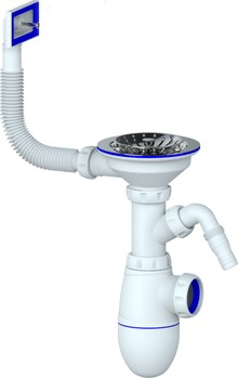 Сифон для мойки Unicorn В430V с прямоугольным переливом и отводом для стиральной машины